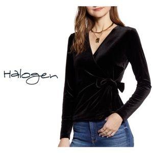 Halogen Black Velvet V Neck Wrap Top